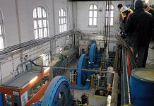 Before the expansion, the three turbine-driven generators at the London Street facility each produced around 1.3 megawatts of power from the flow of water in the Otonabee River. With the expansion, the facility now has the capacity to produce 10 megawatts of green power. (Photo: Bruce Head / kawarthaNOW.com)