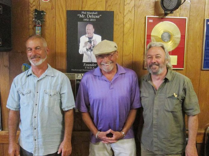 "Norm Kastner, John Punter, Al Black, and Don McBride (not pictured) continue to carry on the work of the Peterborough Musicians' Benevolent Association, founded by the late Phil ""Mr. Deluxe"" Marshall. (Photo: SLAB Productions)"