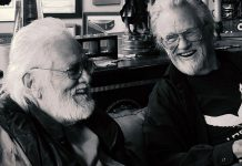 """Ronnie Hawkins and Kris Kristofferson during the recording of """"Me and Bobby McGee"""" at Hawkstone Manor at Stoney Lake in May 2016. A video of the recording is now available on iTunes. (Photo: Lisa Kristofferson)"""