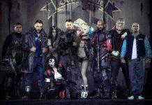 The U.S. government recruits a team of dangerous incarcerated supervillains for a top-secret mission, with Adam Beach as Slipknot, Ian Courtney as Boomerang, Cara Delevingne as Enchantress, Karen Fukuhara as Katana, Joel Kinnamen as Rick Flag, Margot Robbie as Harley Quinn, Will Smith as Deadshot, Adewale Akinnuoye-Agbaje as Killer Croc, and Jay Hernandez as Diablo