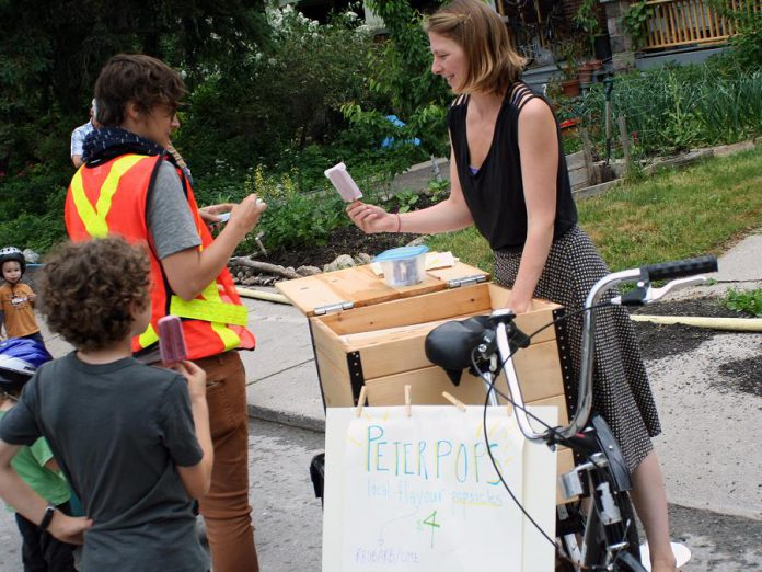 Bike vendors are showing up at the local farmers' markets to sell everything from popsicles and bread to meat from their cargo boxes. Peterpops sells popsicles from their custom cargo tricycle at the Harvey Street Pulse Pop-UP earlier this year.