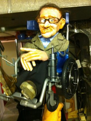 This puppet of physicist Stephen Hawking will make an appearance in Frank Meschkuleit's performance (photo courtesy of Frank Meschkuleit)