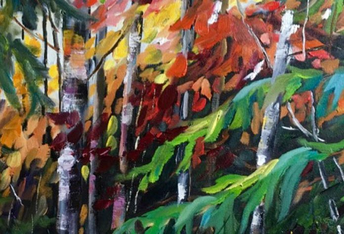 """""""A Touch of Fall"""" (detail) by Jewell Allington of Kawartha Artists' Gallery and Studio (photo: Kawartha Artist's Gallery)"""