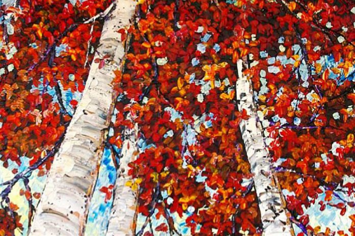 October is the month for painting in the Kawarthas. This colourful piece is by painter Maya Eventov, who will be showing work at Gallery on the Lake's upcoming Thanksgiving show and sale. (Photo: Gallery on the Lake)