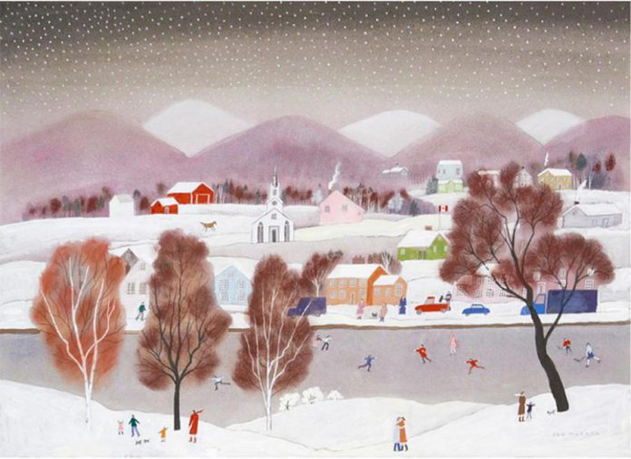 """Quebec Winter"" by San Murata, mixed media on paper, 29"" x 40"" (photo: Christensen Fine Art)"