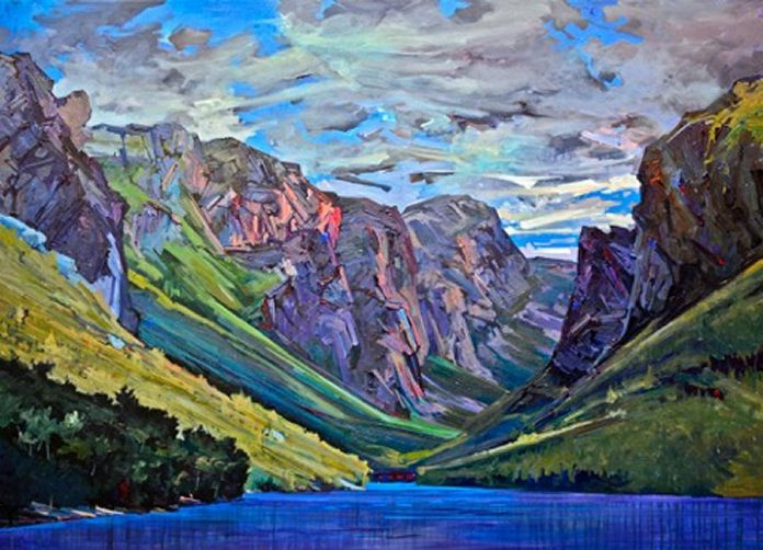 """""""Second View, Western Brook Pond, Gros Morne""""  by Andrew Cheddie Sookrah (photo:  Gallery on the Lake)"""