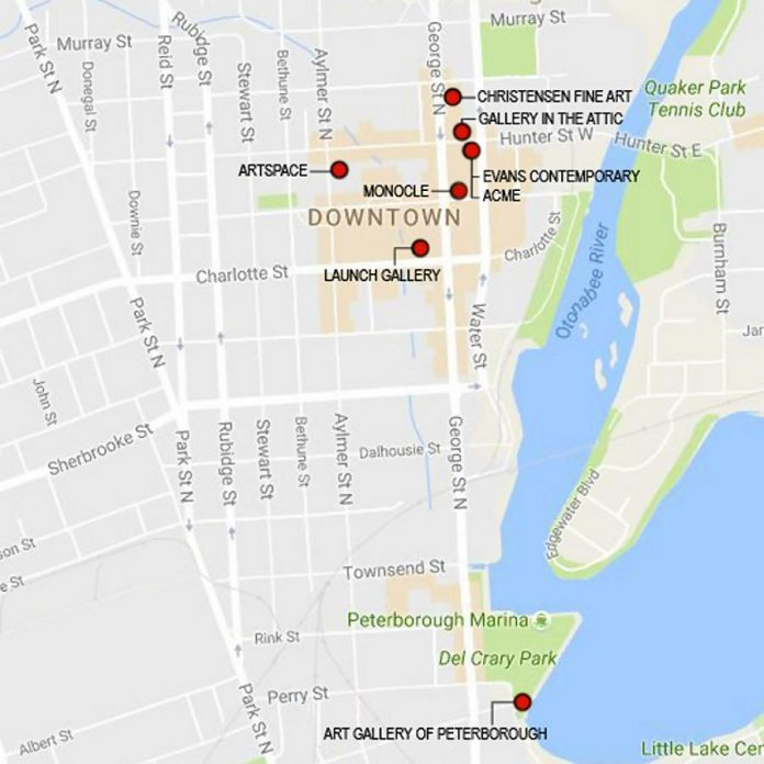 A map of the downtown area, showing participating galleries and spaces (picture: Evans Contemporary)