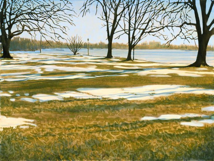 """Early Spring Morning, Crary Park, Peterborough, 2016, oil on canvas 30x40"""" (photo: Peer Christensen)"""