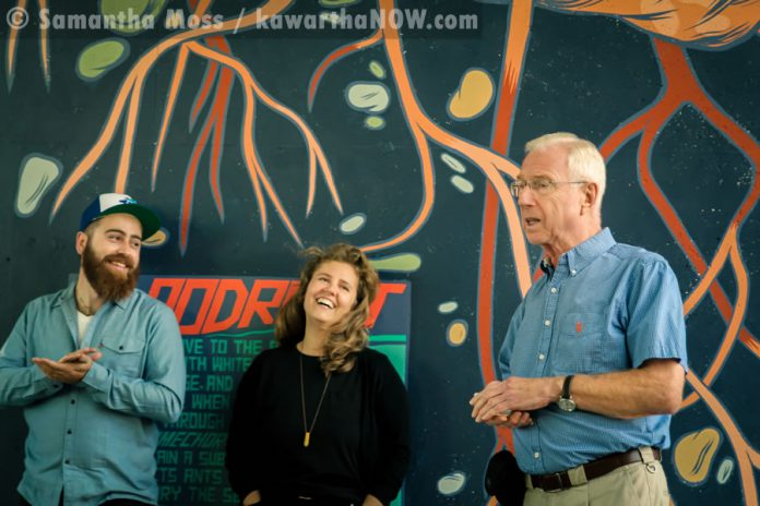 Bruce Stonehouse (right), chair of the City of Peterborough's Public Art Advisory Committee, with Artspace director Jonathan Lockyer and artist Jill Stanton  (photo: Samantha Moss / kawarthaNOW.com)
