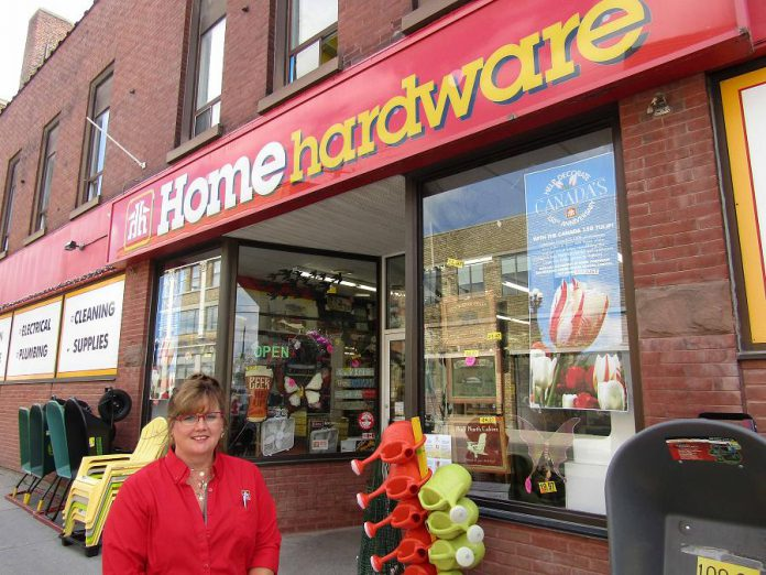 Valerie Hubbeard, manager of Kingan Home Hardware in downtown Peterborough, received rebates for energy-efficient upgrades that have helped the business to save 70,000 kilowatt hours, about the same amount of energy consumed by six Canadian homes in a year (photo: Peterborough Distribution Inc.)