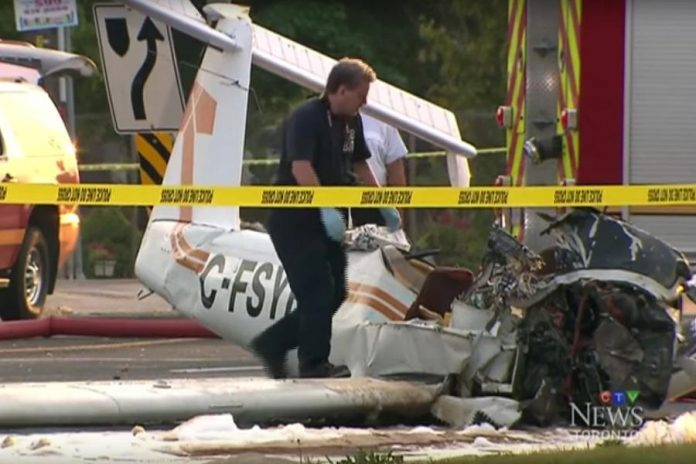 A Piper PA-38-112 Tomahawk aircraft stolen on August 12, 2016 crashed in Peterborough, killing the pilot (photo: CTV News/YouTube)