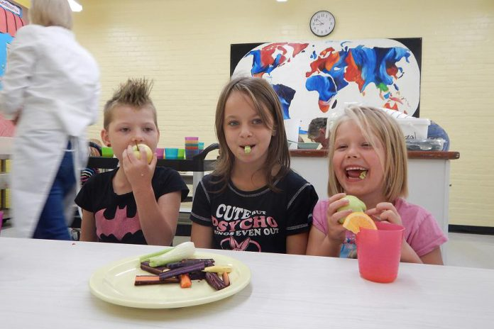 Students at Prince of Wales School (Mariah Dalzell, Paige Dalzell, and Sabrina Dalzell) enjoy a healthy snack of local food (photo: Peterborough Public Health)
