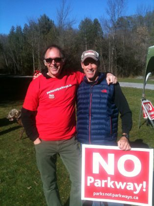 Rob Steinman and Mike Casey of Parks Not Parkway, a community-based and volunteer-driven campaign to preserve Peterborough's greenspace (photo: Carol Lawless)