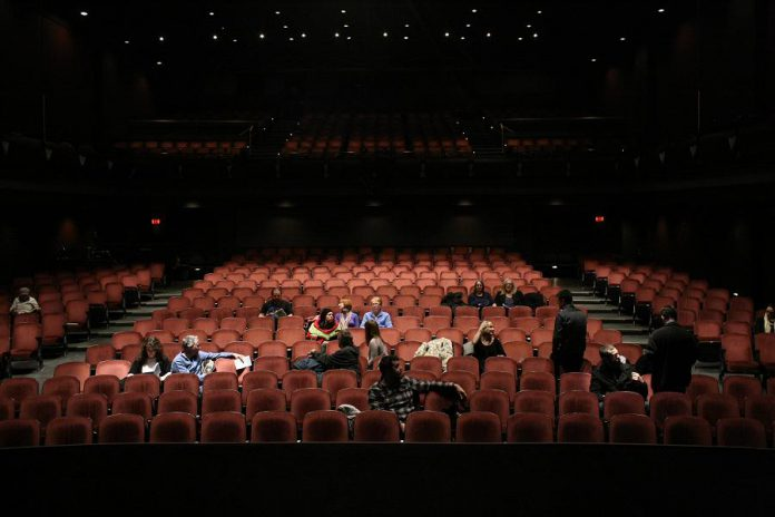 "The cast of ""Show"" as seen from the stage at Showplace Performance Centre in Peterborough, where the film was shot in a single day (photo courtesy of Michael Morritt)"