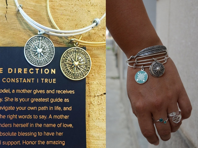 Fully adjustable Alex and Ani bracelets often have symbolic meaning, ideal for gifting. The arrow bracelet featured in our shoot is a symbol for friendship. (Photo: Glenda Passmore and Eva Fisher)