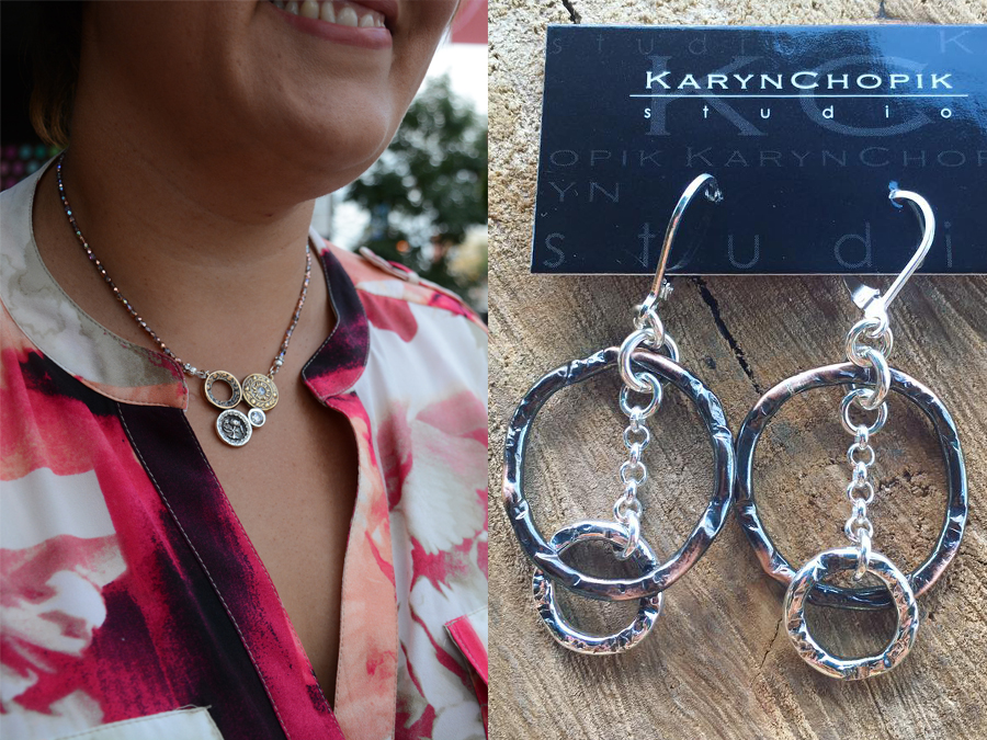 Karyn Chopik's elegant and versatile jewelry is made in Canada from materials including copper, bronze, sterling silver, cubic zirconia and pearls. (Photo: Glenda Passmore and Eva Fisher)