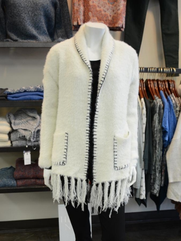 This acrylic open front sweater by Sisters can be belted or worn open for a cozy cold weather look. (Photo: Eva Fisher)