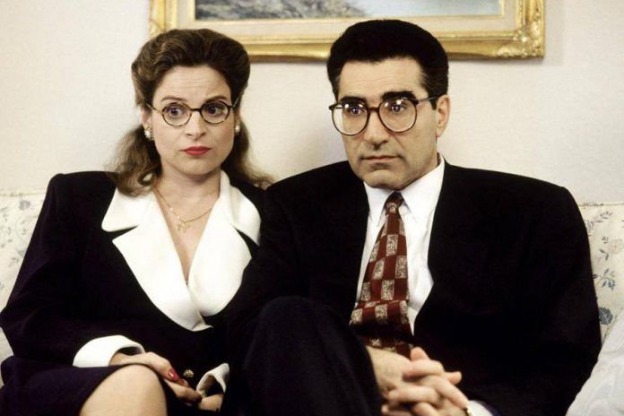 Kash is a veteran actor; here she appears with Eugene Levy in a scene from the 1996 film Waiting for Guffman