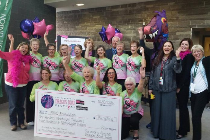 Members and volunteers of Survivors Abreast and Peterborough's Dragon Boat Festival celebrate the funds raised at the 2016 festival with staff from the PRHC Foundation and PRHC, including  Dr. Rola Shaheen (third from right), who is Chief of Radiology and Medical Director of Diagnostic Imaging (photo: PRHC Foundation)