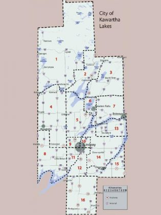 The existing 16 wards and their boundaries in the City of Kawartha Lakes (graphic: City of Kawartha Lakes)