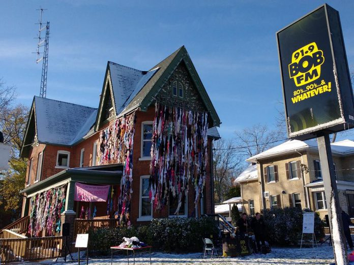 The 91.9 BOB FM building in Lindsay was also decorated with donated bras (photo: Bras Around the Building)