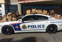 The Peterborough Police Service Cram-A-Cruiser event collects food for Kawartha Food Share (photo: Facebook)