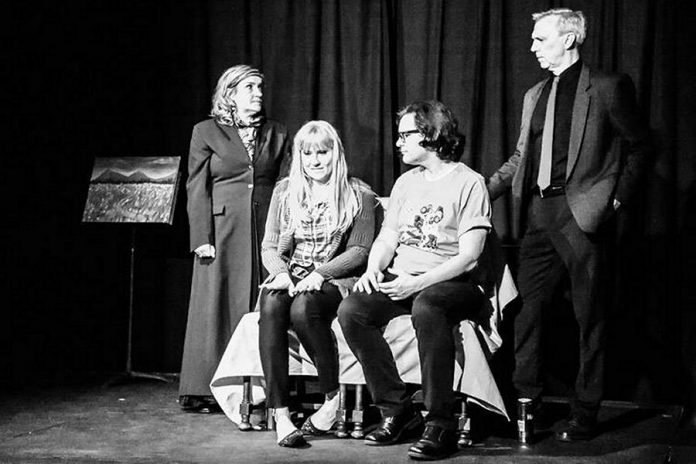 """The Peterborough Theatre Guild's production of """"My Narrator"""" stars Tina Johnston as Lacey's narrator Barb, Nicole Roy as Lacy, Derek Weatherdon as Miles, and Mark Gray as Mile's narrator Bob (photo: Peterborough Theatre Guild / Facebook)"""