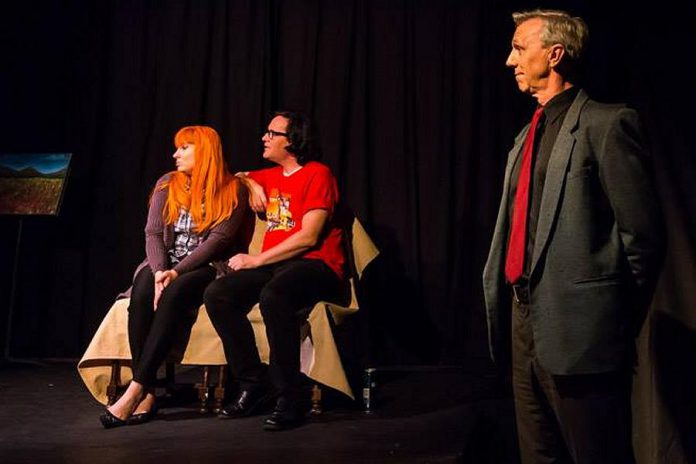 The two characters' personal narrators stand just to the side of the stage, addressing the audience about what their characters are (and, more often than not, should be) thinking (photo: Peterborough Theatre Guild / Facebook)