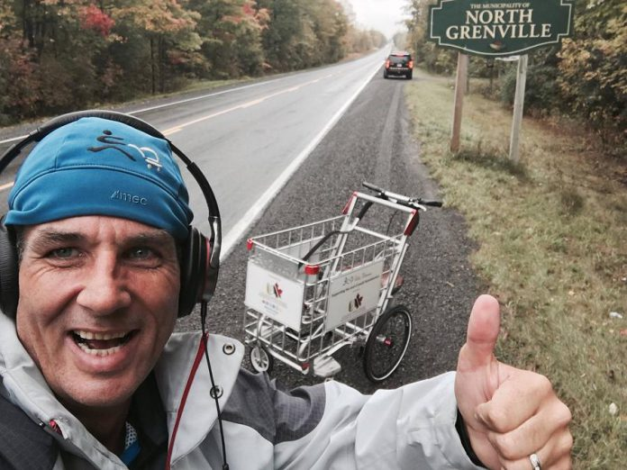 Joe Roberts, who is pushing a shopping cart across Canada for youth homelessness, arriving in eastern Ontario earlier in October. He is speaking in Peterborough and Lindsay on October 16, with a big celebration in Toronto in October 23. (Photo: The Push for Change)