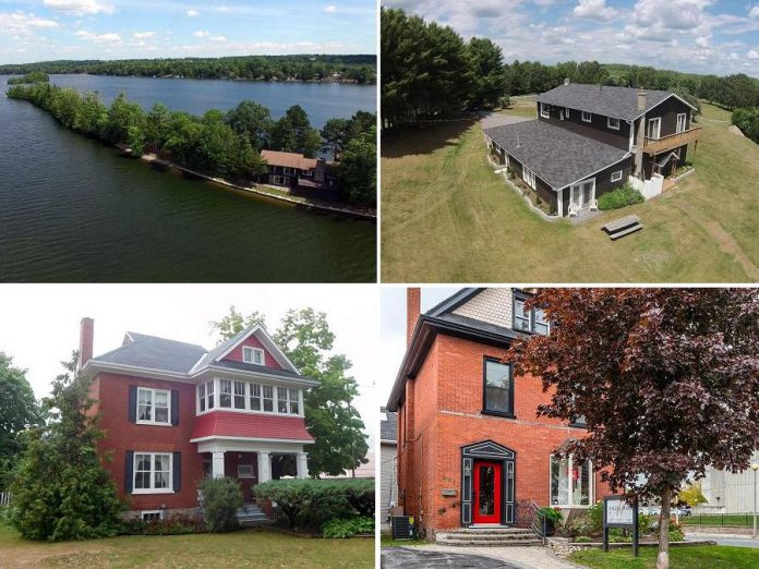 Clockwise from top left: a unique home on a point from Jo Pillon of Royal LePage Frank Real Estate; a horse farm near Paudash Lake from Emma Kearns of Century 21; a beautiful red brick home in Hastings recently inspected by County Home Inspection; and a historic retail location in downtown Peterborough from The Galvin Team at RE/MAX Eastern Realty Inc.