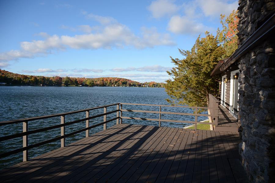 The verandah off the master bedroom and great room has a beautiful view of Chemong Lake. (Photo: Eva Fisher)