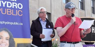 Peterborough activist Roy Brady speaks at a 2016 media conference outside Peterborough City Hall protesting the potential sale of PDI to Hydro One (photo: Keep Hydro Public)
