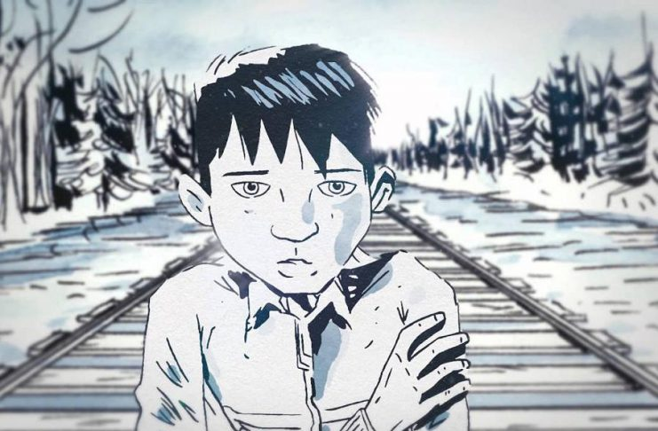 The Secret Path, written and directed by Gord Downie with illustrations by Jeff Lemire, tells the story of 12-year-old Chanie Wenjack who died 50 years ago while trying to walk 600 kilometres to his northwestern Ontario home after fleeing a residential school in Kenora. Trent University is hosting a panel discussion and screening of the film on October 23 at Wenjack Theatre. (Illustration: Jeff Lemire)