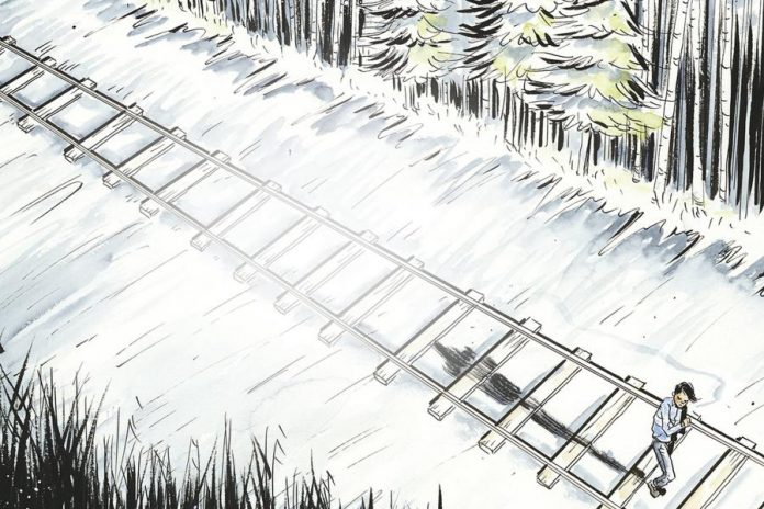 Over 36 hours, Chanie Wenjack managed to walk 13 kilometres of the 600-kilometre journey to his home when he succumbed to the elements (illustration: Jeff Lemire)