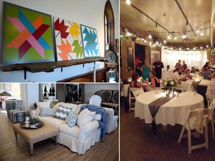 Find out about fall decor trends from Style Your Nest (top), take an inside look at a wedding held at the Historic Red Dog Tavern with Swanky Events (right), and get design inspiration from the beautiful new showroom of Lakeshore Designs (bottom)