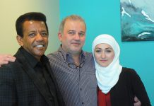 Kenzu Abdella (left) and new Canadians Mohammad and Randa Alftih have partnered to open a new restaurant in downtown Peterborough in December (supplied photo)