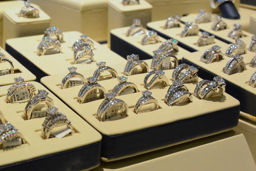 "Part of the diamond ring display at Johnson's Jewellers. ""This will be your family's next heirloom."" (Photo: Eva Fisher)"
