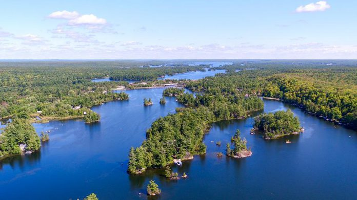 An drone aerial view of Lovesick Lake, located between Buckhorn Lake and Stoney Lake. It's bordered by Burleigh Falls tn the east and Wolf Island Provincial Park to the west. (photo: Joel Knott)