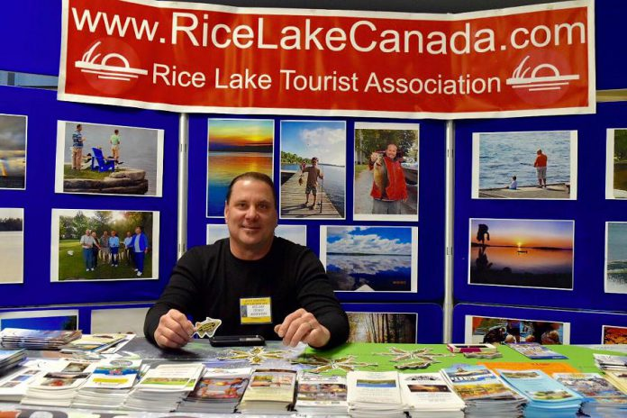 Using Partnership Allocation funding, the Rice Lake Tourist Association distributed promotional material at industry trade shows in Ontario (like the Quinte Sportman Boat and RV Show, pictured here) and border U.S. states to attract visitors to the region. (Photo: RTO8)