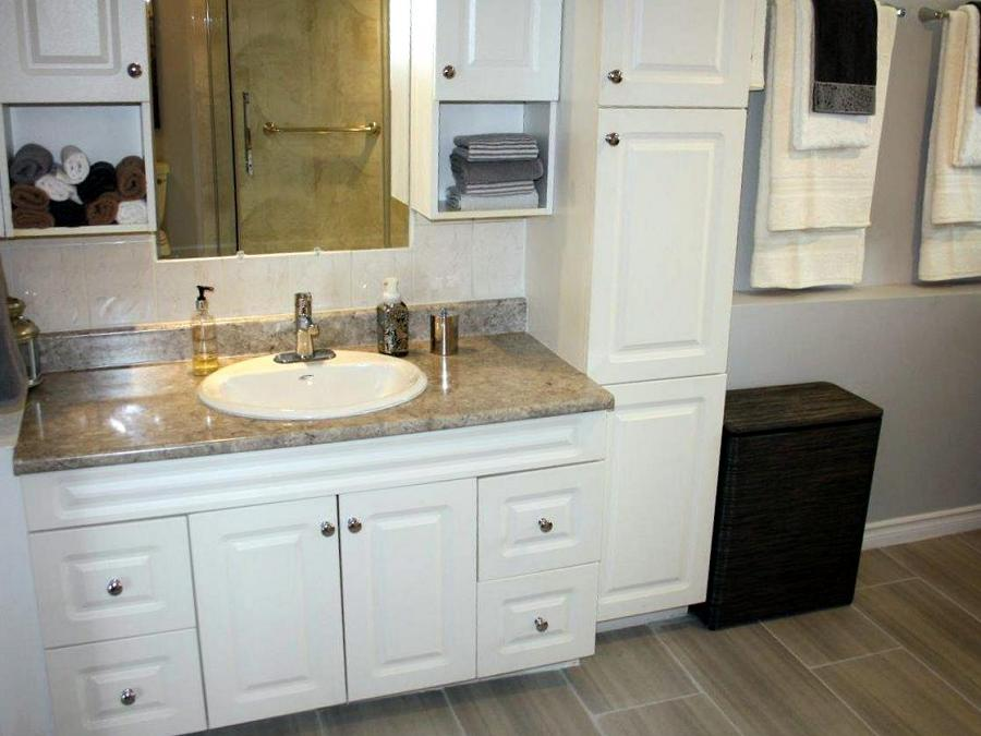 Need more storage in the bathroom? Peterborough Bath Renovators can create a washroom with plenty of cupboard space, like this one. (Photo: Peterborough Bath Renovators)