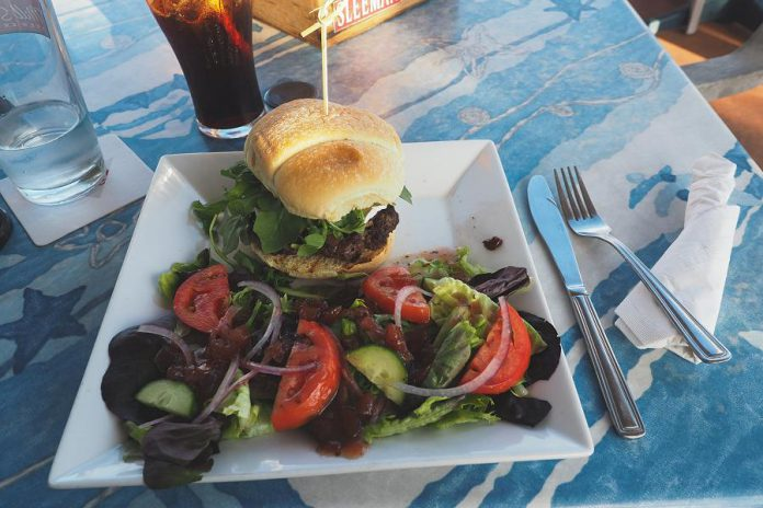 A delicious locally produced burger at Dougalls on the Bay in Brighton afer a long day of cycling on the trails; staff offered to lock up Miles' bike in their storage unit while he was enjoying his meal. (Photo: Miles Arbour)