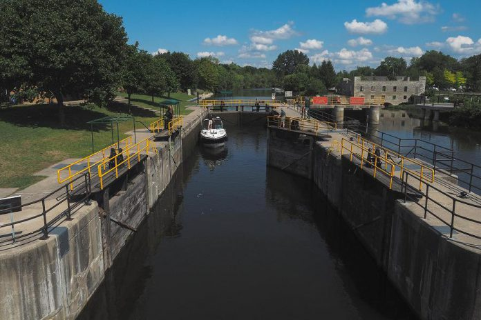 Lock 33 of the Trent-Severn Waterway in Lindsay is a National Historic Site that's adjacent to the Victoria Rail Trail. (Photo: Miles Arbour)