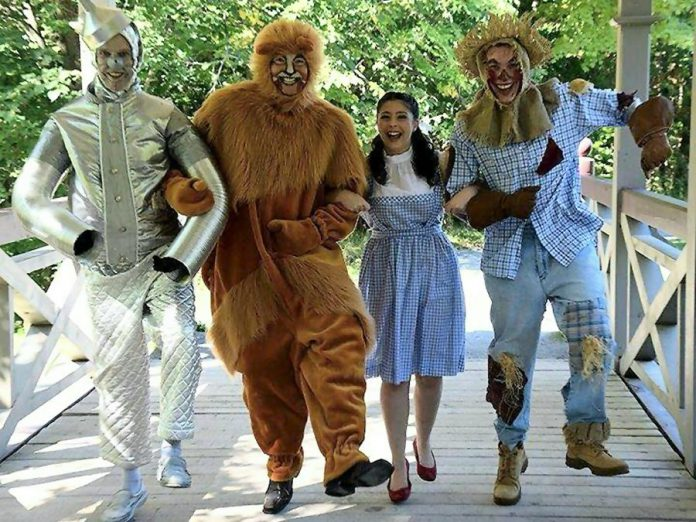 In its magical production of The Wizard of Oz, St. James Players brings the beloved characters to life with Robert Hedge as the Tin Man, Keevin Carter as the Cowardly Lion, Hope Clarkin as Dorothy, and Drew Mills as the Scarecrow (photo: St. James Players)