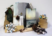 Switching to eco-friendly gift wrapping does not mean you have to forgo the excitement. Old books, magazines, and maps can be repurposed into decorative envelopes and bows while pinecones, birch bark, and small sprigs of evergreen can add decorative personal touches to your gifts. (Photo: GreenUP)