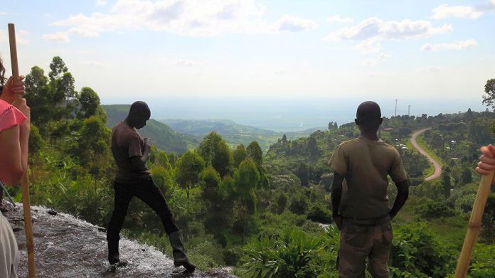 Overlooking the Karamoja plains at Sipi Falls, a beautiful tourist spot and one of the main coffee-producing areas of Uganda (photo: Alli Bunting)