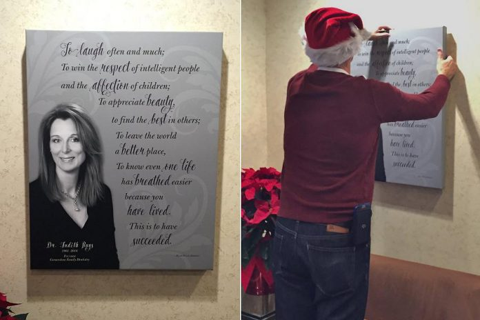 The tribute to the late Dr. Buys in the reception room at Cornerstone Family Dentistry, which was hung by Dr. Buys' husband Dr. Jim McGorman (photos: Cornerstone Family Dentistry / Facebook)