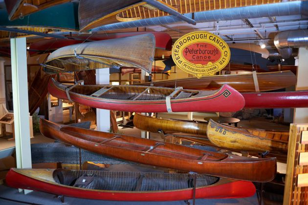 Some of the canoes on public display at The Canadian Canoe Museum. Members to the museum also get an annual tour of canoes and watercraft in the collection that aren't available to the general public. (Photo: Canadian Canoe Museum)