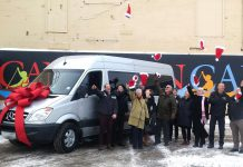 Museum supporters celebrate The Canadian Canoe Museum's purchase of a Mercedes Benz van, which will also include a vehicle wrap by Commercial Press & Design, a trailer hitch, and a 20' enclosed trailer (photo: Jessica Fleury / The Canadian Canoe Museum)