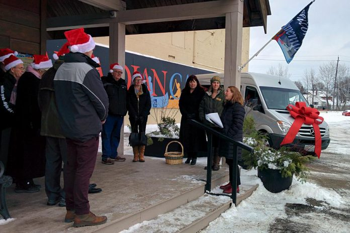 Carolyn Hyslop, General Manager of The Canadian Canoe Museum (right), thanks community supporters for the new van, which was unveiled in the parking lot at the museum's Monaghan Road location (photo: Bruce Head / kawarthaNOW)