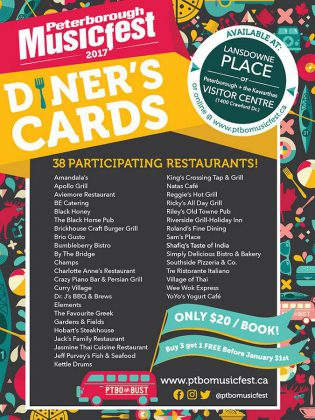 A list of the 38 local restaurants participating in the Peterborough Musicfest 2017 Diner's Cards (graphic: Peterborough Musicfest)